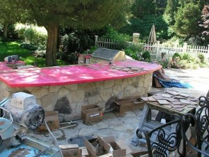 bbq tile counter top job